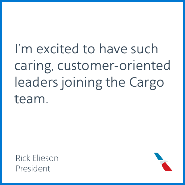 I'm excited to have such caring, customer-oriented leaders joining the Cargo team